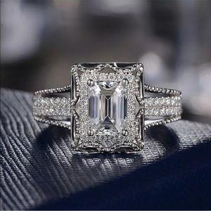 New S 925 white halo diamonds sparkly ring #89